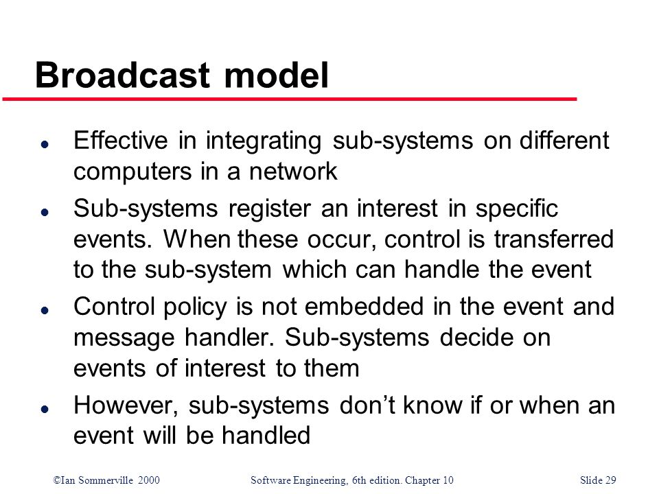 Broadcast modelEffective in integrating sub-systems on different computers in a network.