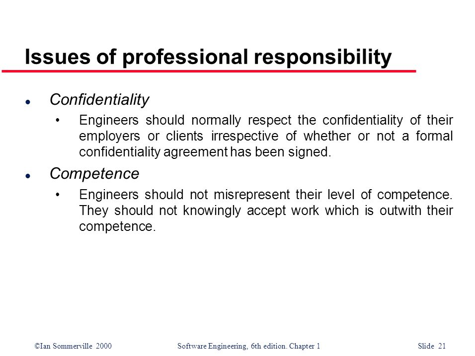 Issues of professional responsibility