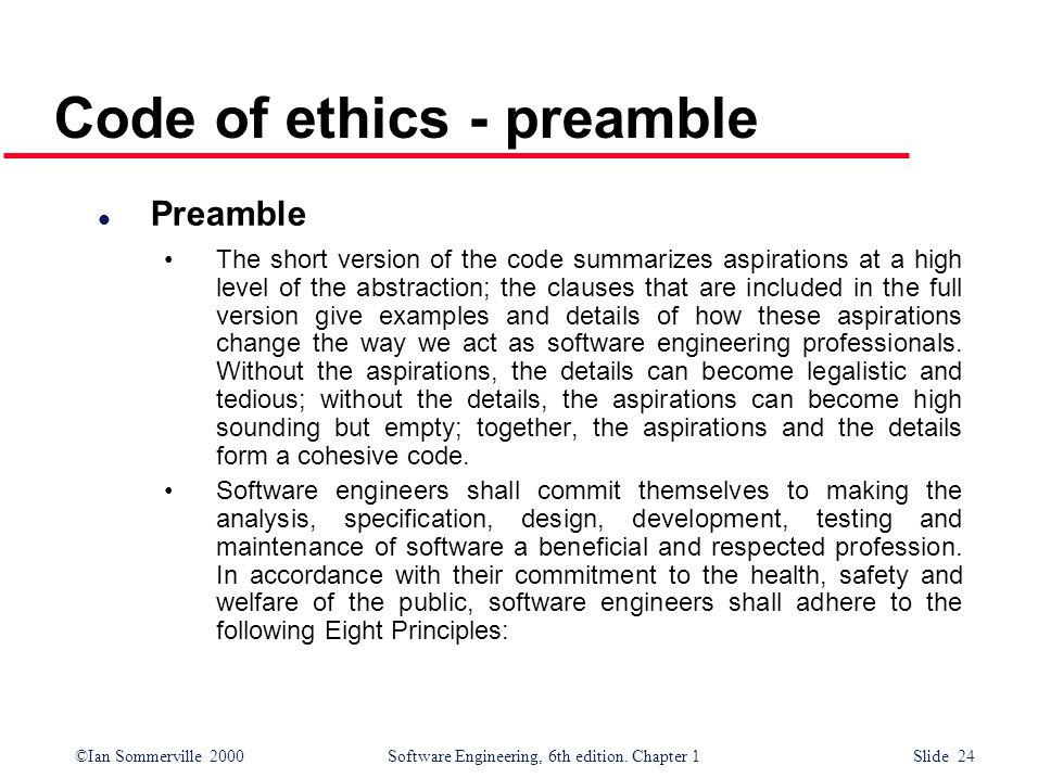 Code of ethics - preamble