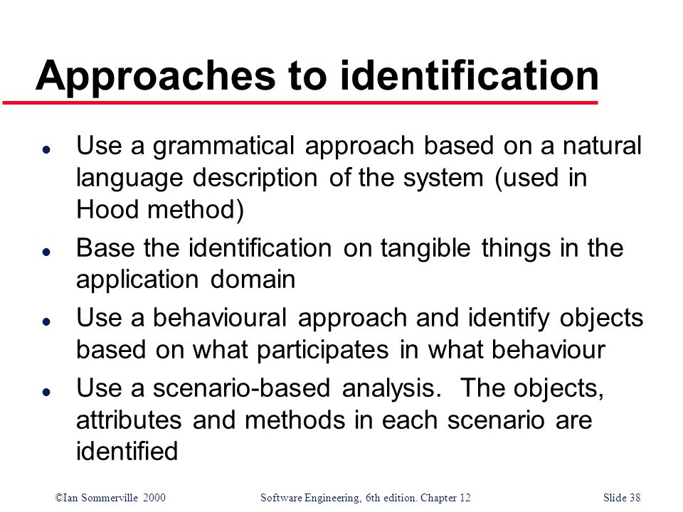 Approaches to identification