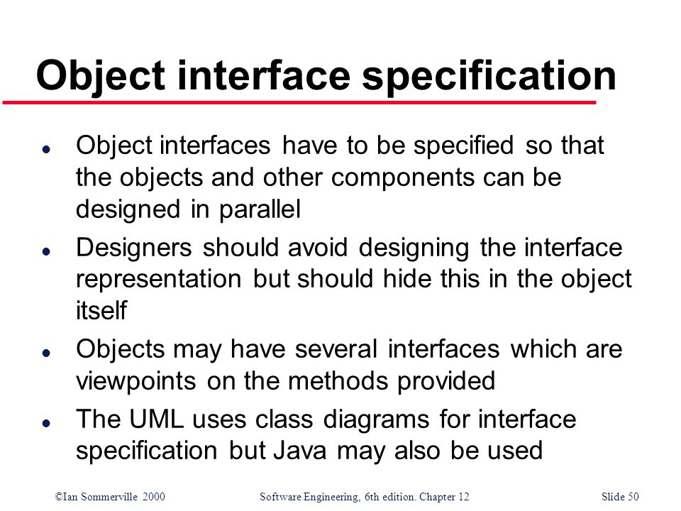 Object interface specification