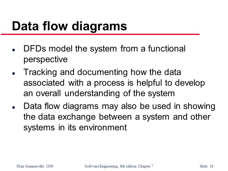 Data flow diagrams DFDs model the system from a functional perspective