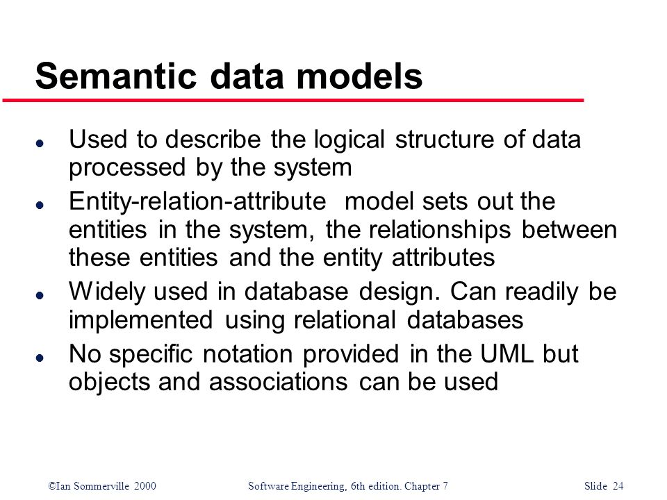 Semantic data models Used to describe the logical structure of data processed by the system.