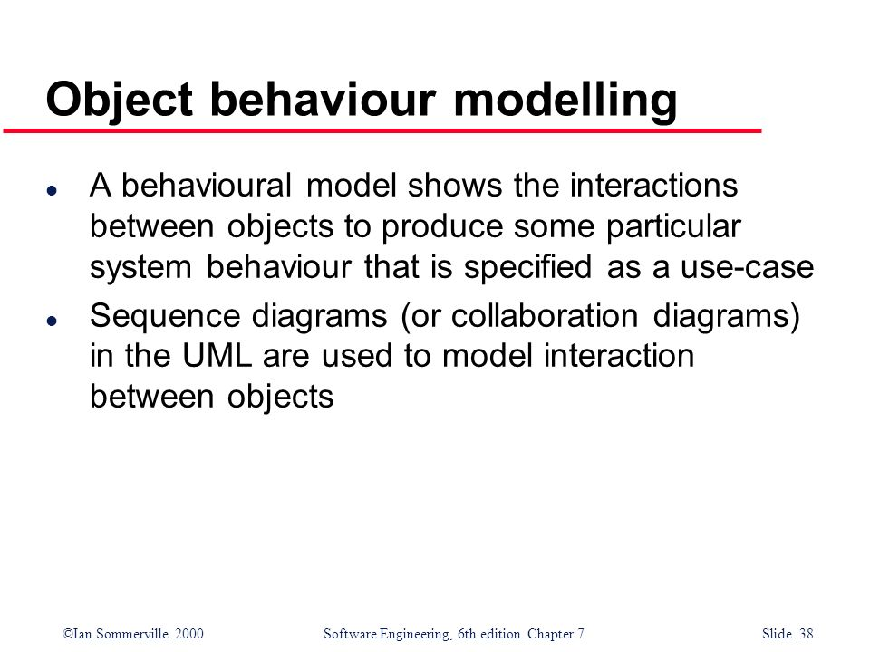 Object behaviour modelling
