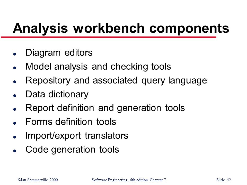 Analysis workbench components