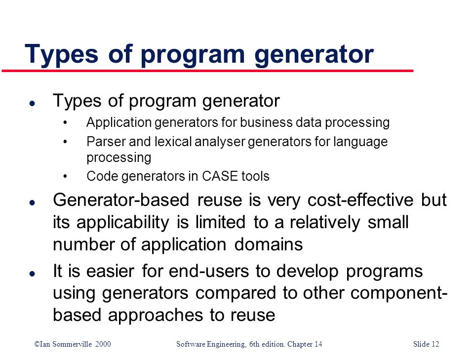 Types of program generator