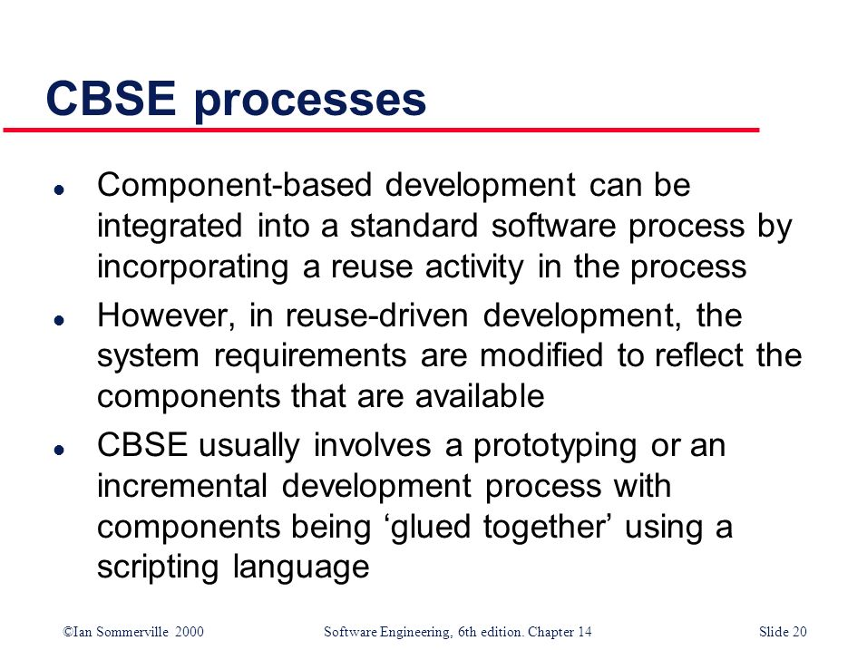 CBSE processes Component-based development can be integrated into a standard software process by incorporating a reuse activity in the process.