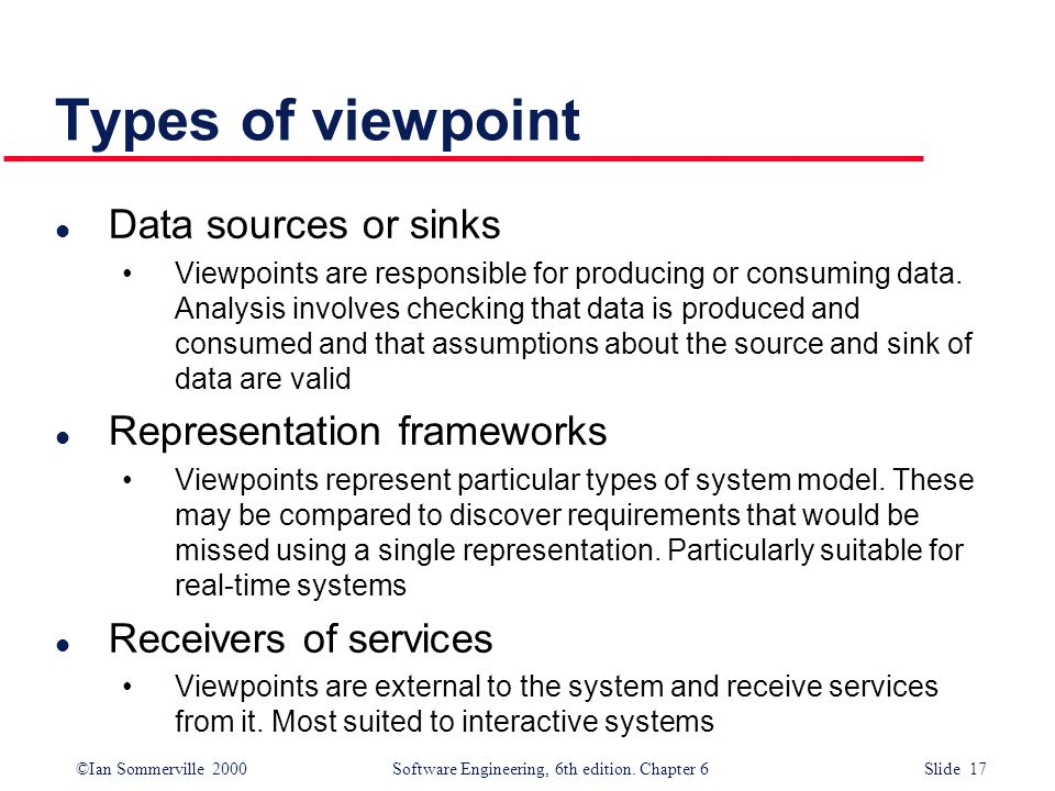 Types of viewpoint Data sources or sinks Representation frameworks