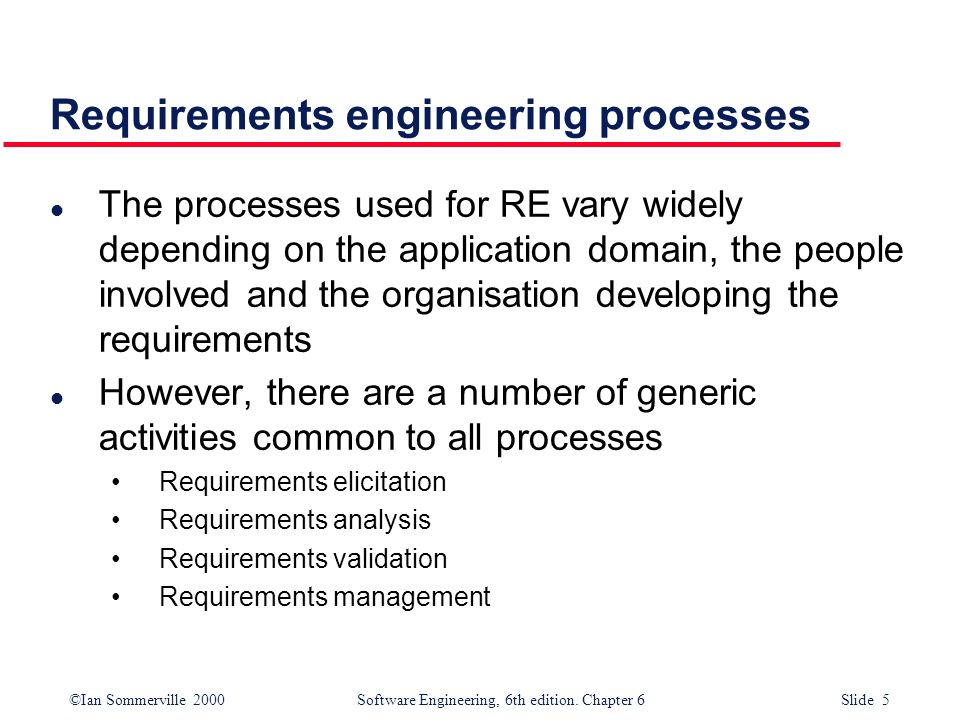 Requirements engineering processes