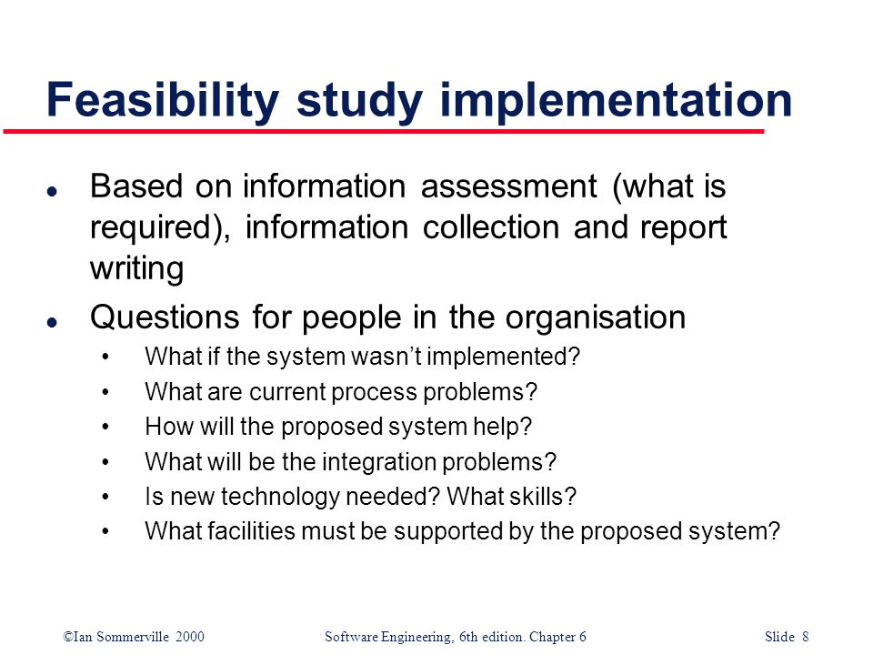 Feasibility study implementation