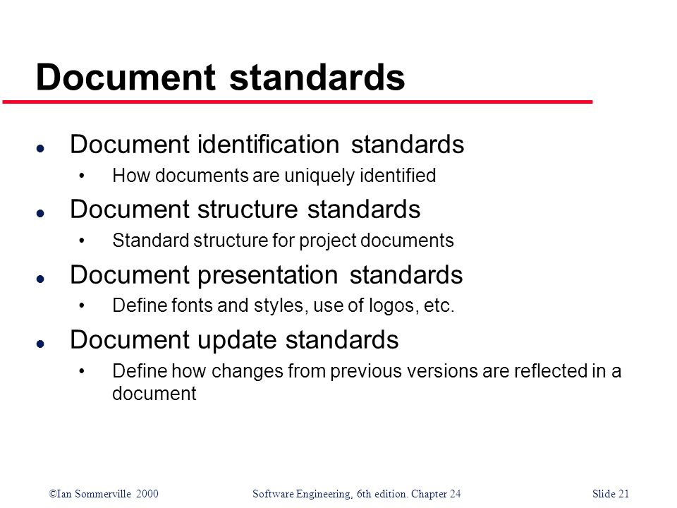 Document standards Document identification standards