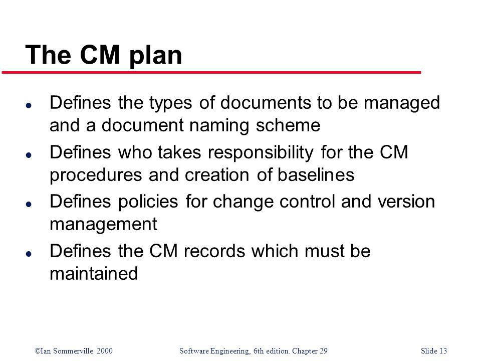 The CM plan Defines the types of documents to be managed and a document naming scheme.