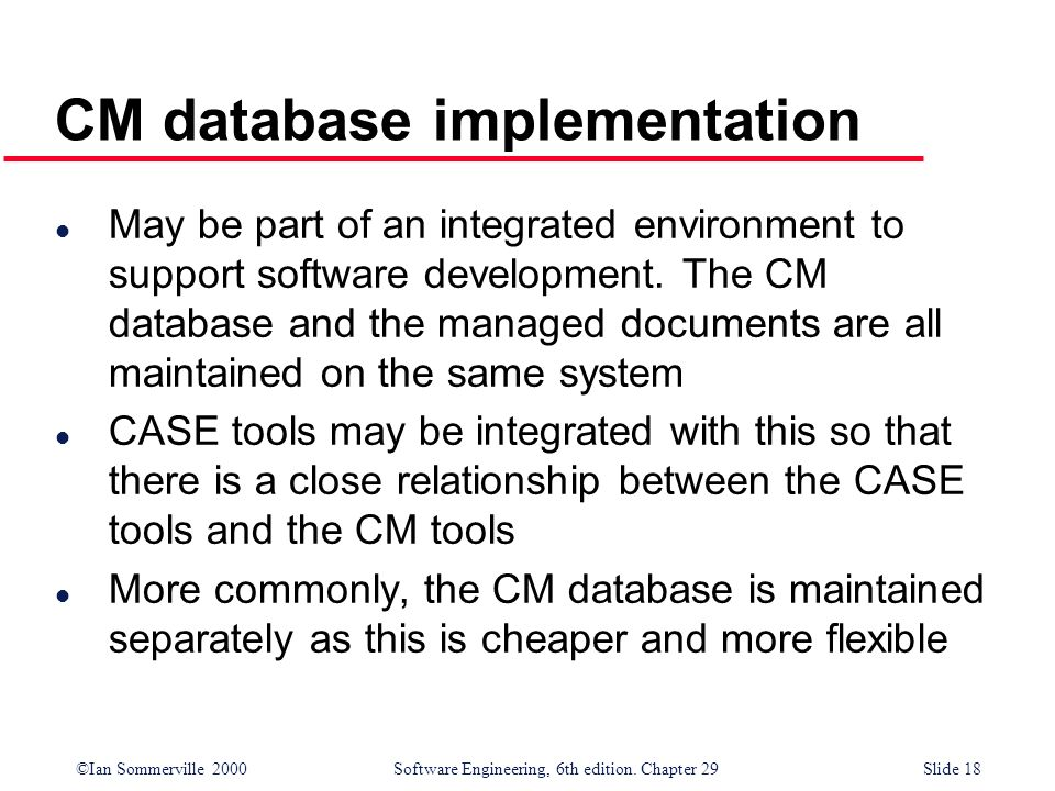 CM database implementation