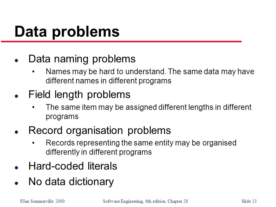 Data problems Data naming problems Field length problems