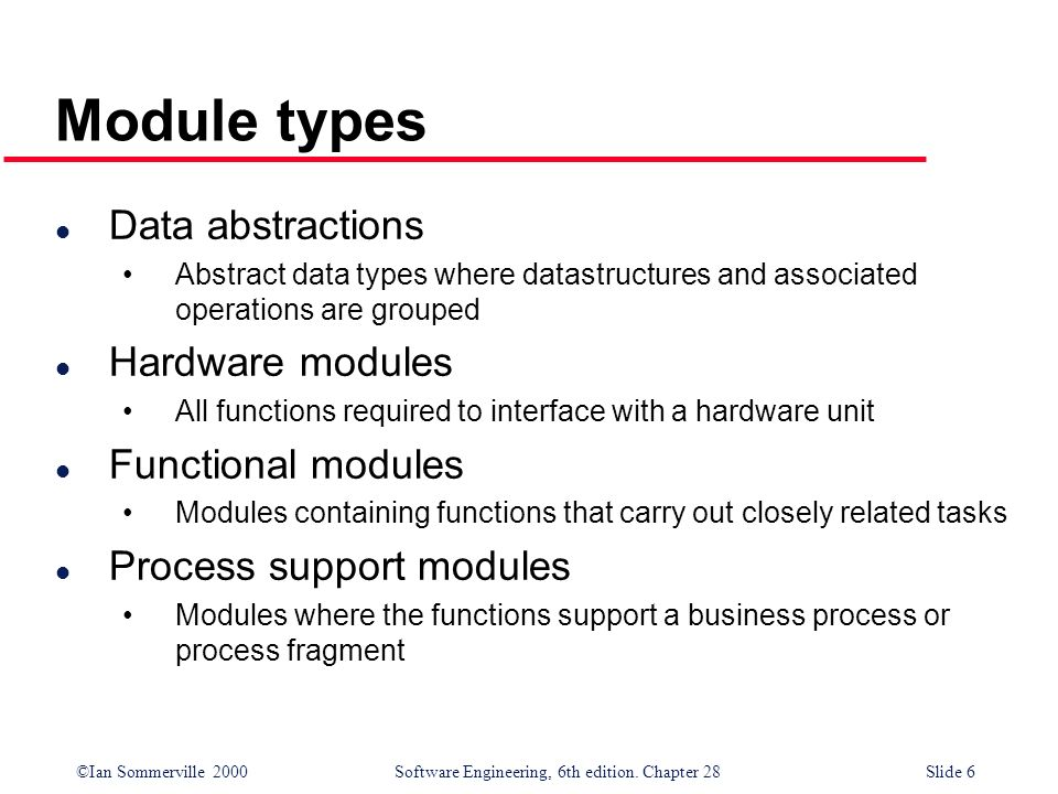 Module types Data abstractions Hardware modules Functional modules