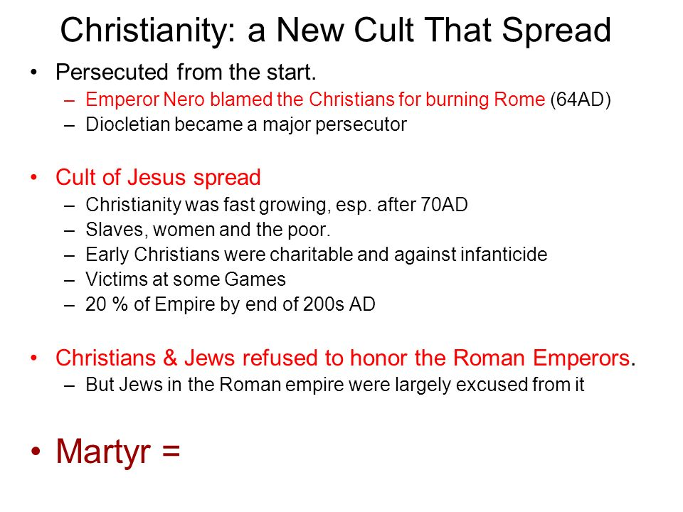 Cult When A Started Christianity It
