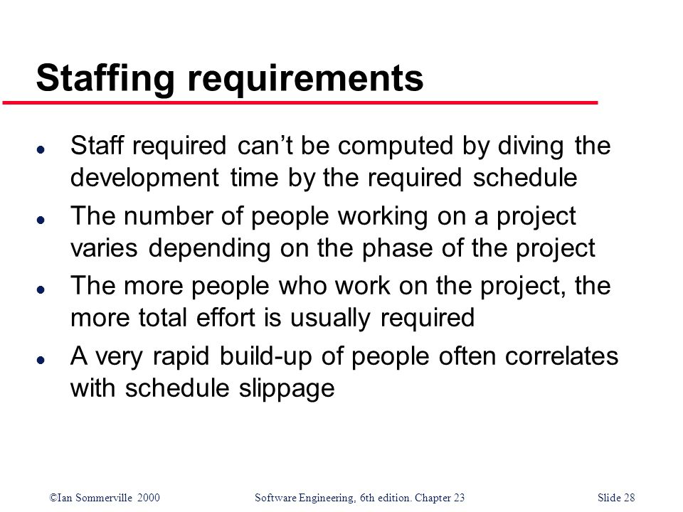 Staffing requirements