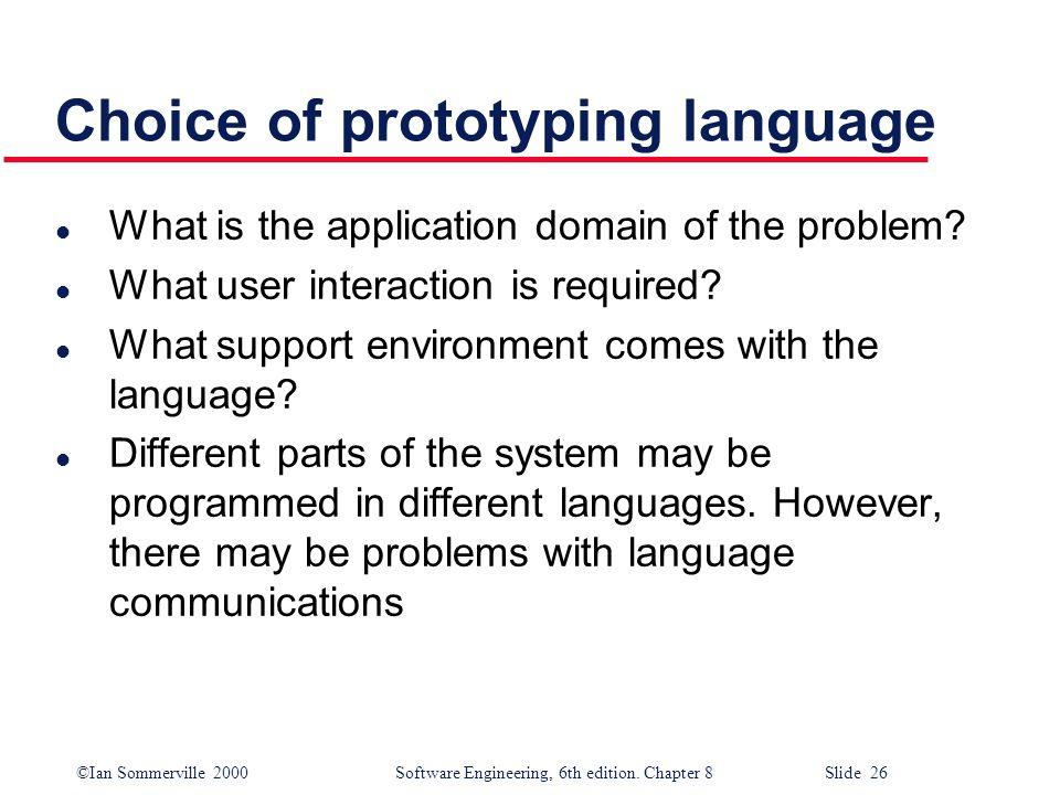 Choice of prototyping language