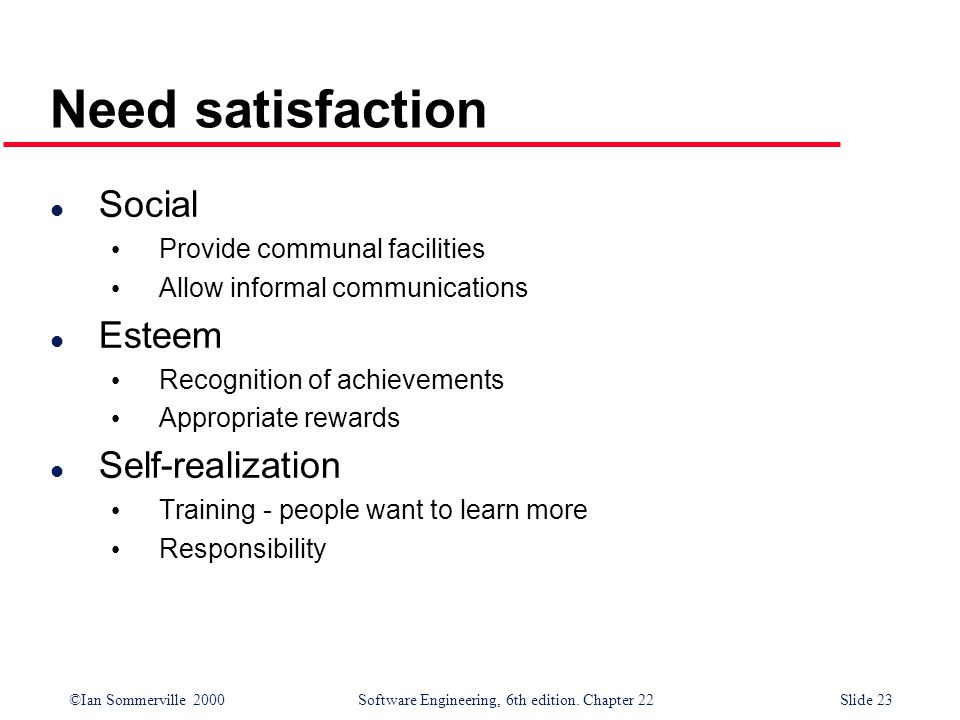 Need satisfaction Social Esteem Self-realization