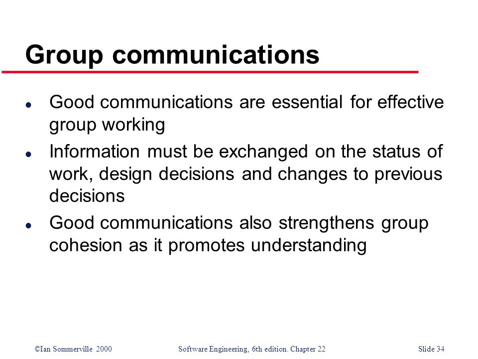 Group communications Good communications are essential for effective group working.