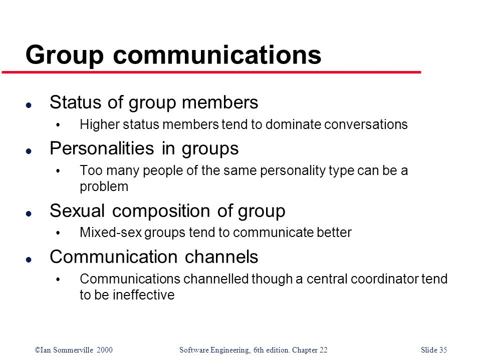 Group communications Status of group members Personalities in groups
