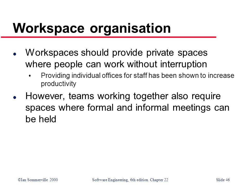 Workspace organisation