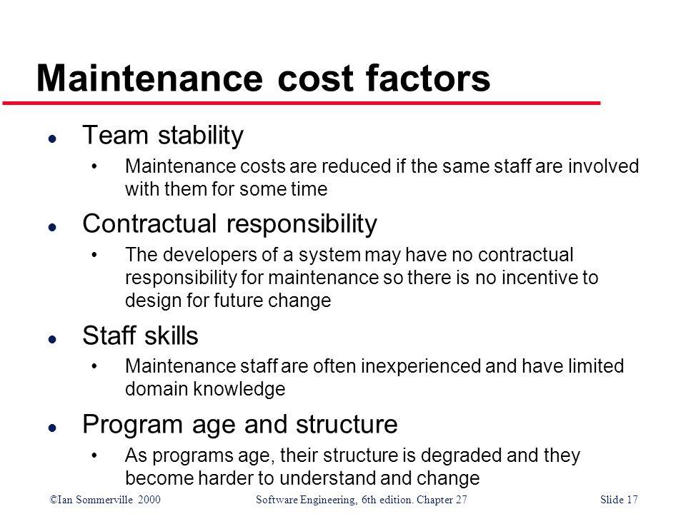 Maintenance cost factors