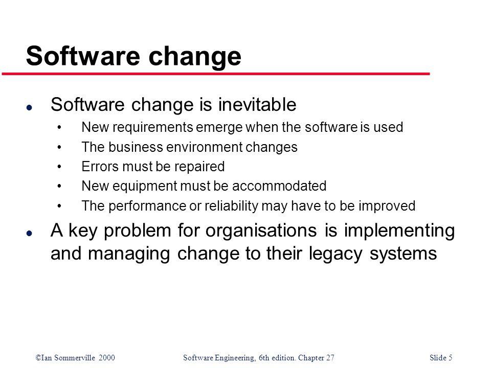 Software change Software change is inevitable