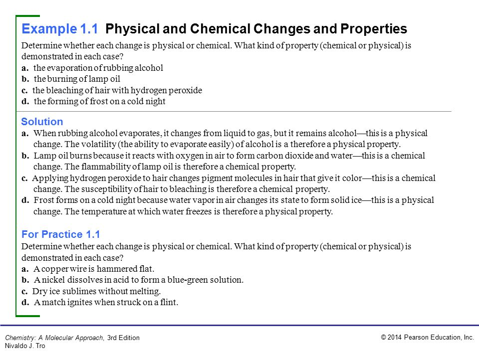 Example 1 1 Physical And Chemical Changes And Properties