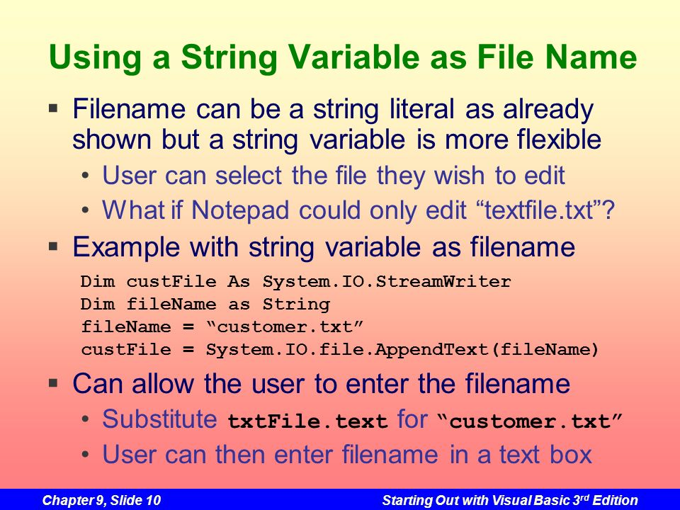 Using a String Variable as File Name