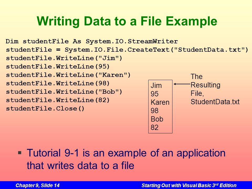 Writing Data to a File Example