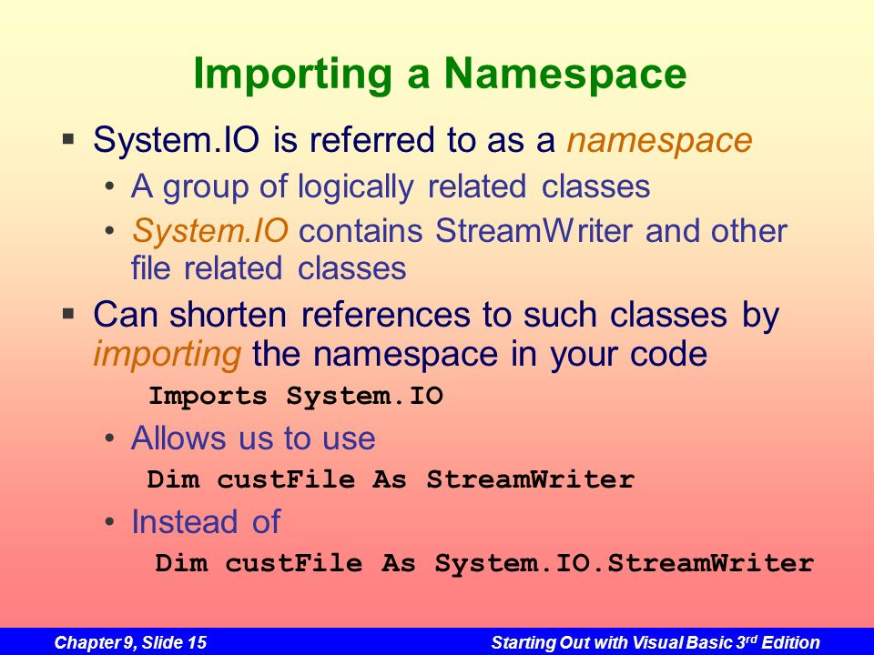 Importing a Namespace System.IO is referred to as a namespace