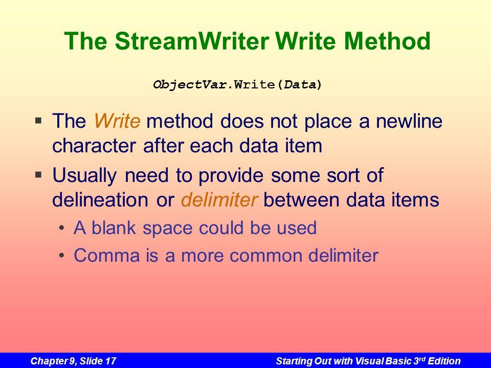 The StreamWriter Write Method