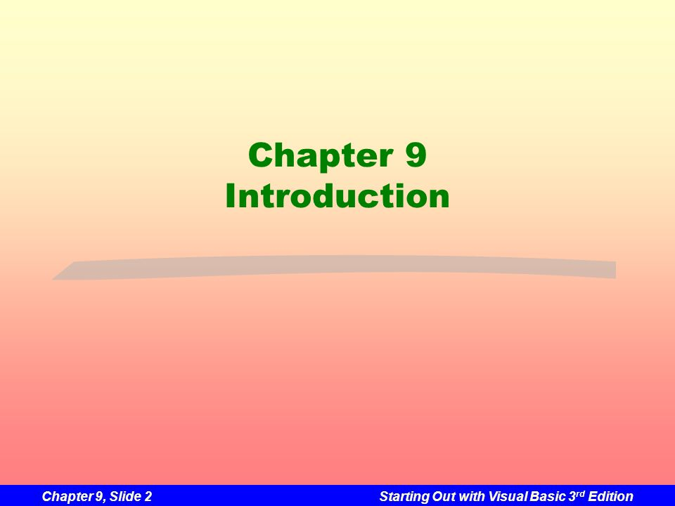 Chapter 9 Introduction