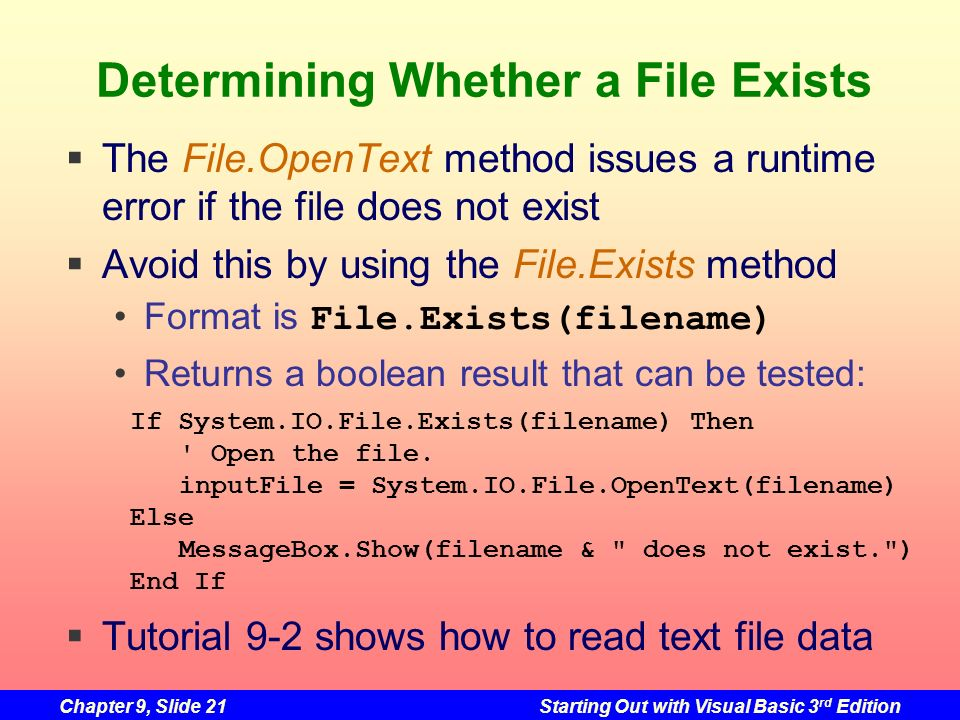 Determining Whether a File Exists