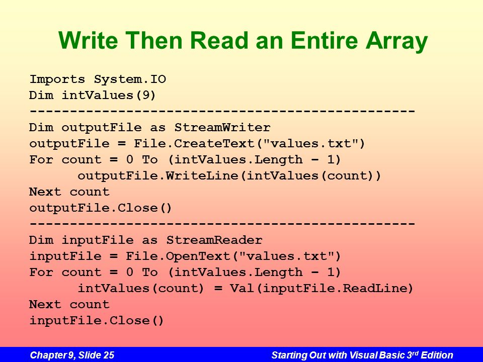 Write Then Read an Entire Array