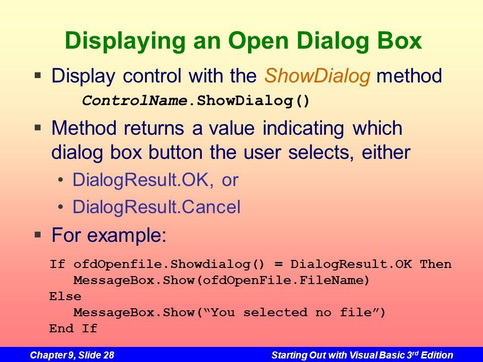 Displaying an Open Dialog Box
