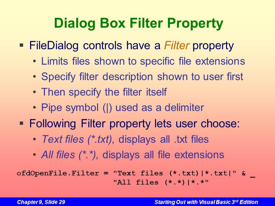 Dialog Box Filter Property