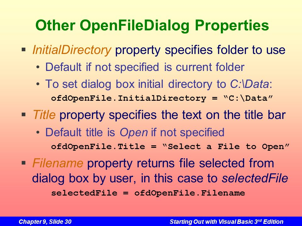Other OpenFileDialog Properties