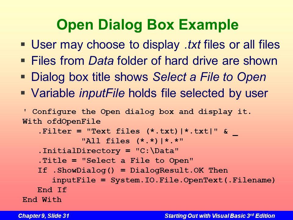 Open Dialog Box Example