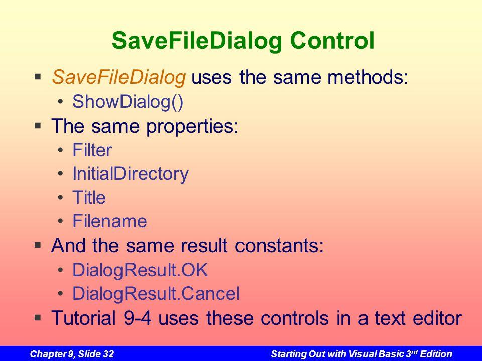 SaveFileDialog Control