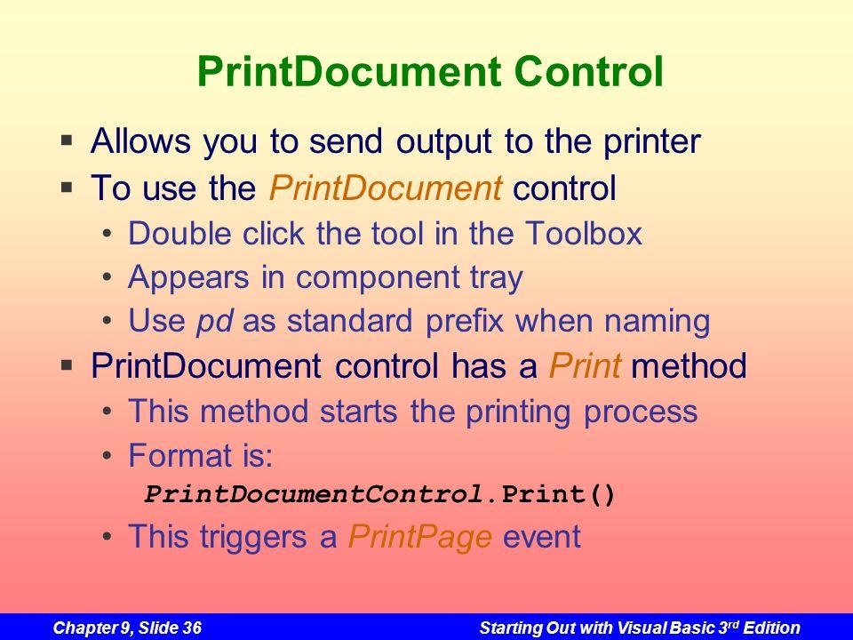 PrintDocument Control