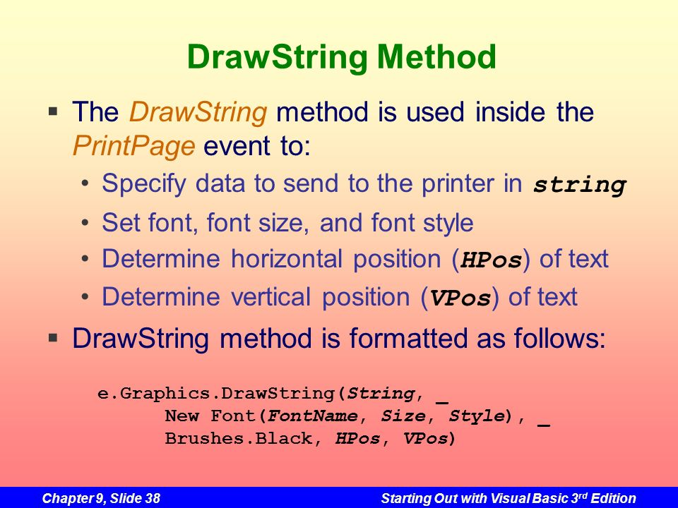 DrawString Method The DrawString method is used inside the PrintPage event to: Specify data to send to the printer in string.