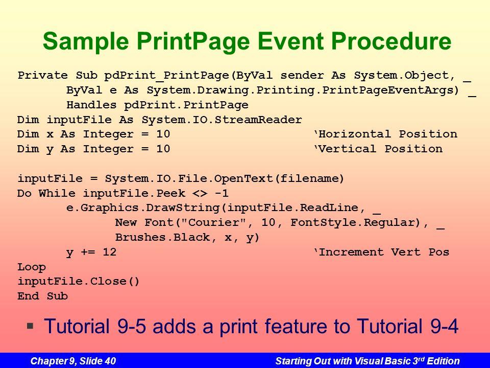 Sample PrintPage Event Procedure