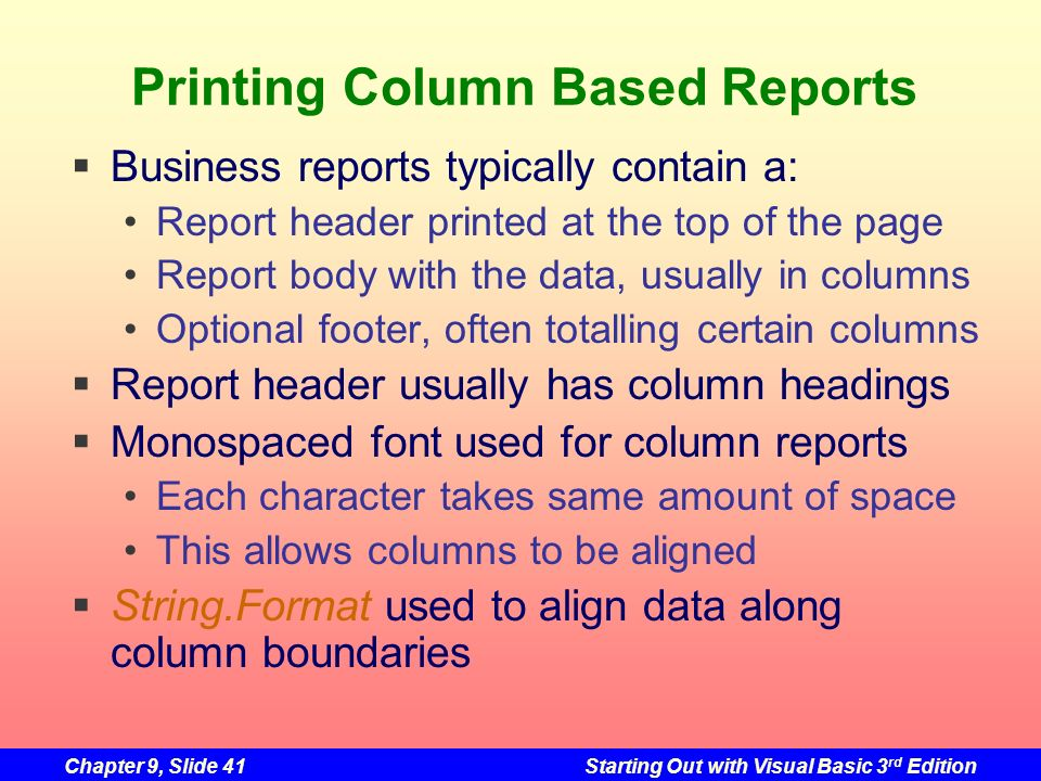 Printing Column Based Reports