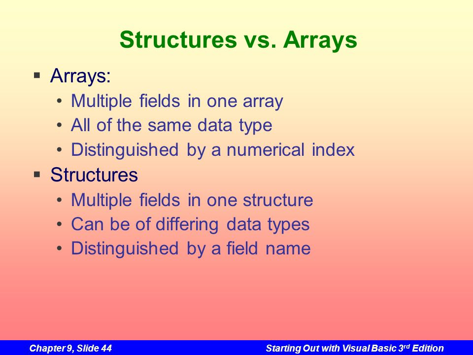 Structures vs. Arrays Arrays: Structures Multiple fields in one array