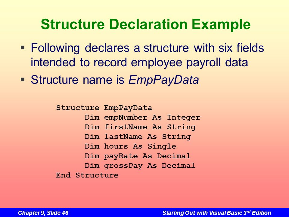 Structure Declaration Example