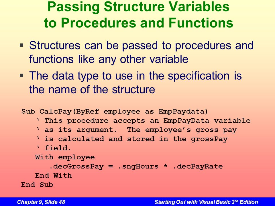 Passing Structure Variables to Procedures and Functions