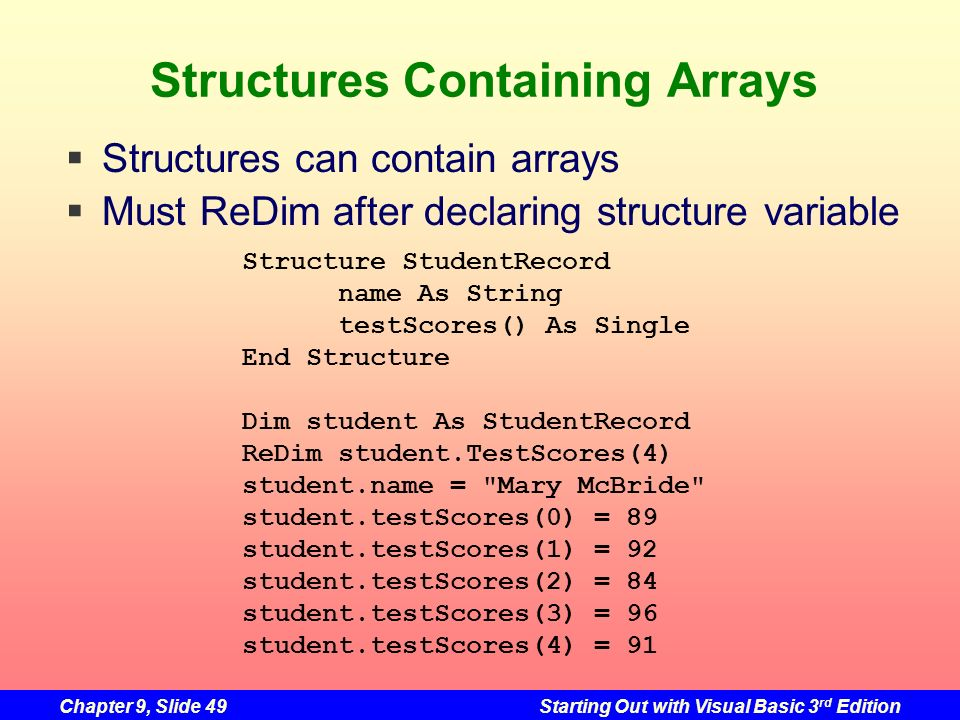 Structures Containing Arrays