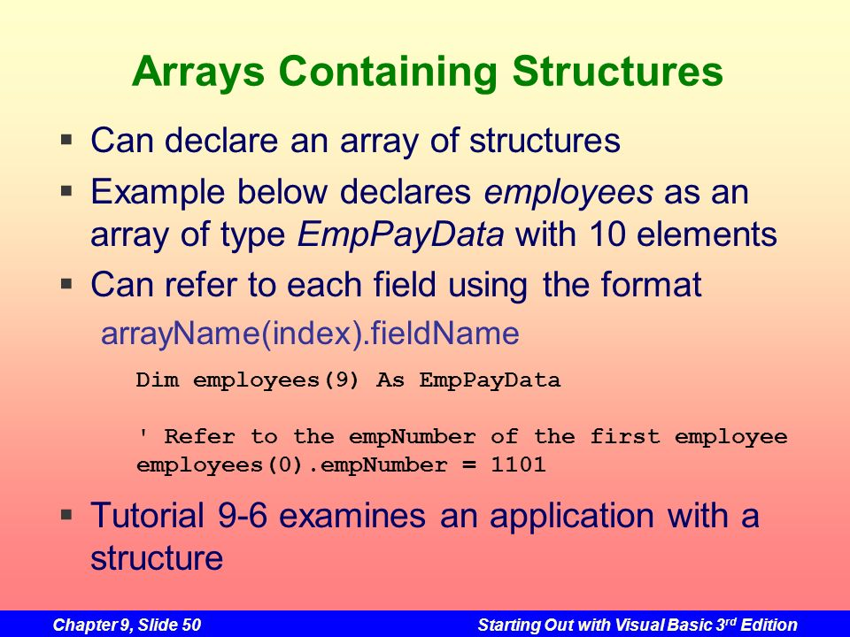 Arrays Containing Structures